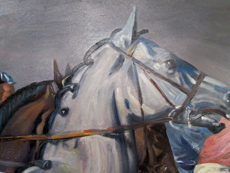 Art Reproductions Alfred_Munnings_Jockeys_L_C. Our Oil Painting Reproduction -Zoom Details