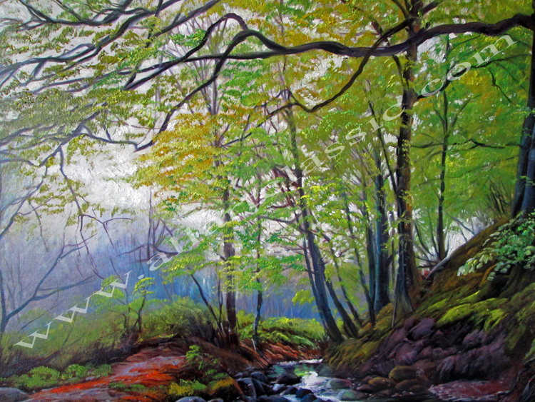 Art Reproductions Beautiful_River_Landscape_L_A. Our Oil Painting Reproduction -Zoom Details