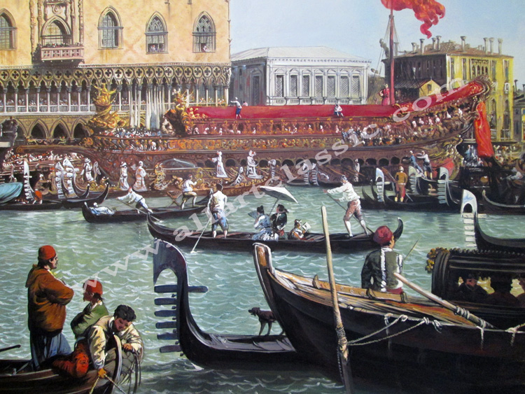 Art Reproductions Canaletto_Bucintoro_at_the_Molo_Painting_L_A. Our Oil Painting Reproduction -Zoom Details