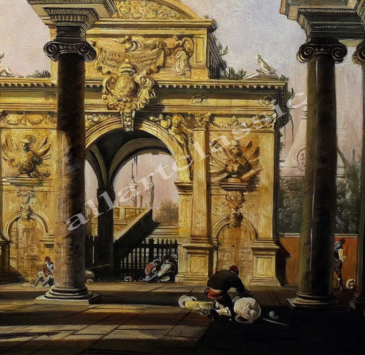 Art Reproductions Canaletto_Capriccio_of_a_Renaisance_Triumphal_Arch_seen_from_the_Portico_of_a_Palace_C. Our Oil Painting Reproduction -Zoom Details
