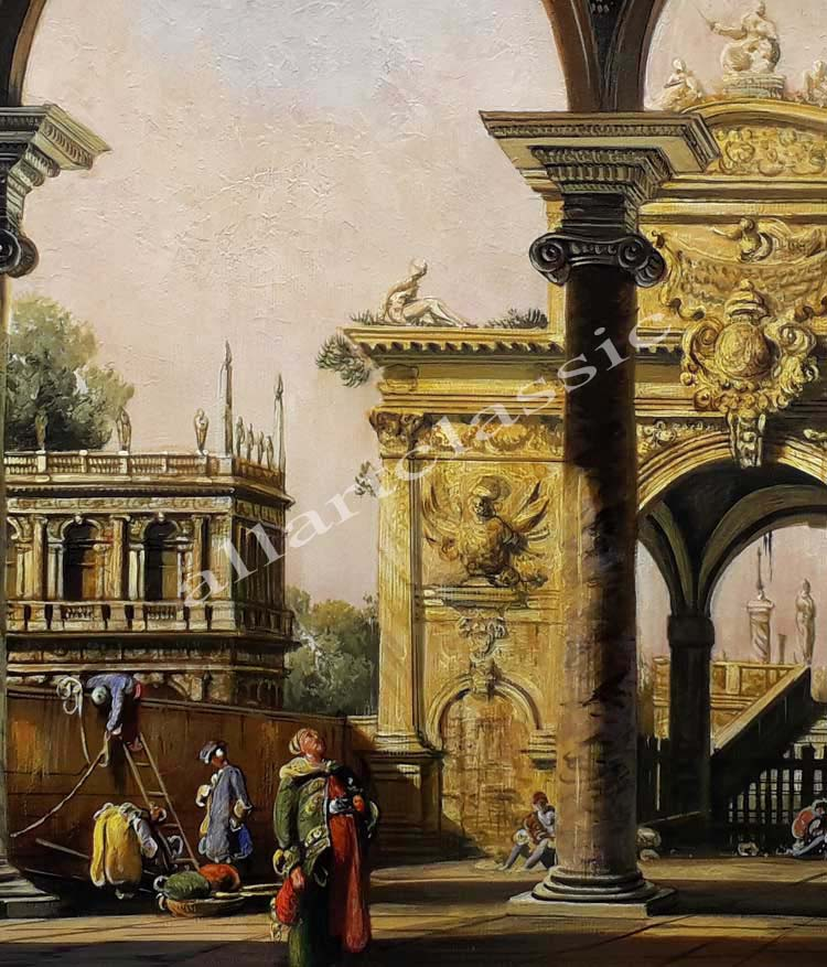 Art Reproductions Canaletto_Capriccio_of_a_Renaisance_Triumphal_Arch_seen_from_the_Portico_of_a_Palace_D. Our Oil Painting Reproduction -Zoom Details