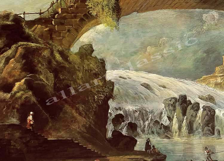 Art Reproductions Hubert_Robert_Painting_Bridge_Over_a_Torrent_C. Our Oil Painting Reproduction -Zoom Details