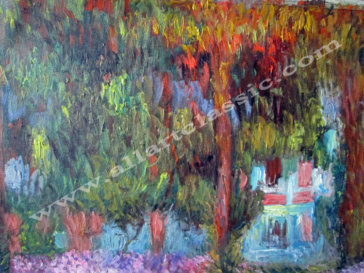 Art Reproductions Irises-in-Monet-Garden-Painting-L_B. Our Oil Painting Reproduction -Zoom Details