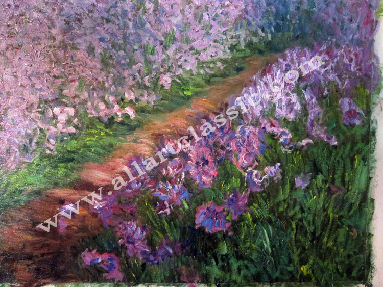 Art Reproductions Irises-in-Monet-Garden-Painting-L_C. Our Oil Painting Reproduction -Zoom Details