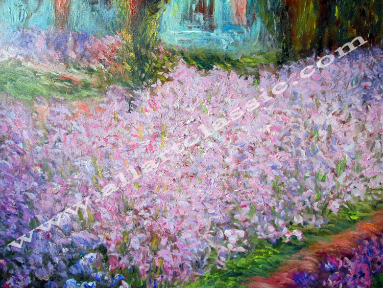Art Reproductions Irises-in-Monet-Garden-Painting-L_D. Our Oil Painting Reproduction -Zoom Details