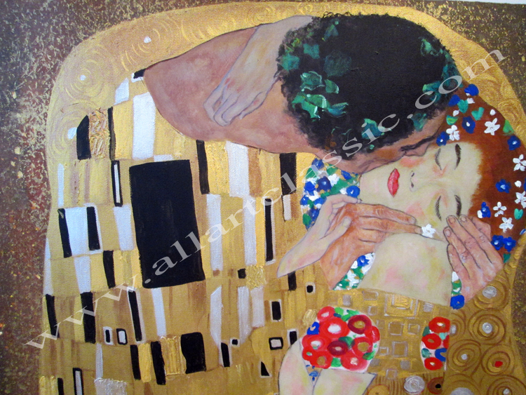 Art Reproductions Klimt-The-Kiss-L_A. Our Oil Painting Reproduction -Zoom Details