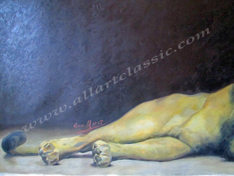 Art Reproductions Morot_Lion_Painting_L_C. Our Oil Painting Reproduction -Zoom Details