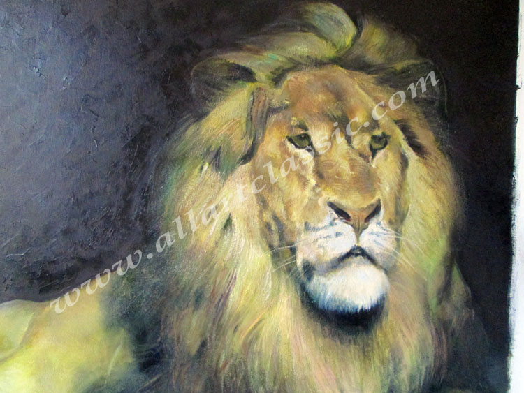 Art Reproductions Morot_Lion_Painting_L_D. Our Oil Painting Reproduction -Zoom Details