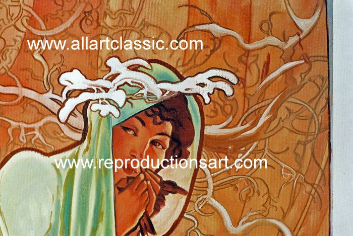 Art Reproductions Mucha_Paintings_001N_B. Our Oil Painting Reproduction -Zoom Details