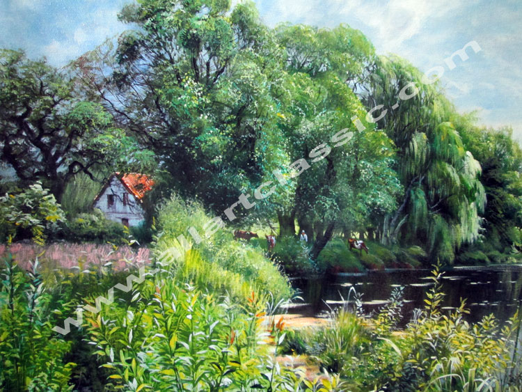 Art Reproductions Peder_Monsted_Painting_Landscape_L_A. Our Oil Painting Reproduction -Zoom Details