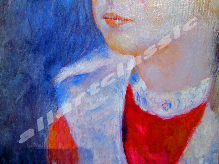 Art Reproductions Renoir-Girl-Blue-Hat_B. Our Oil Painting Reproduction -Zoom Details