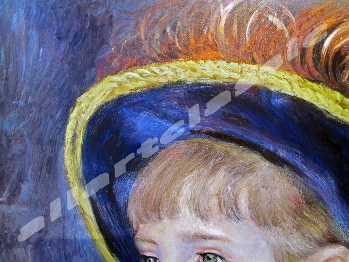 Art Reproductions Renoir-Girl-Blue-Hat_C. Our Oil Painting Reproduction -Zoom Details