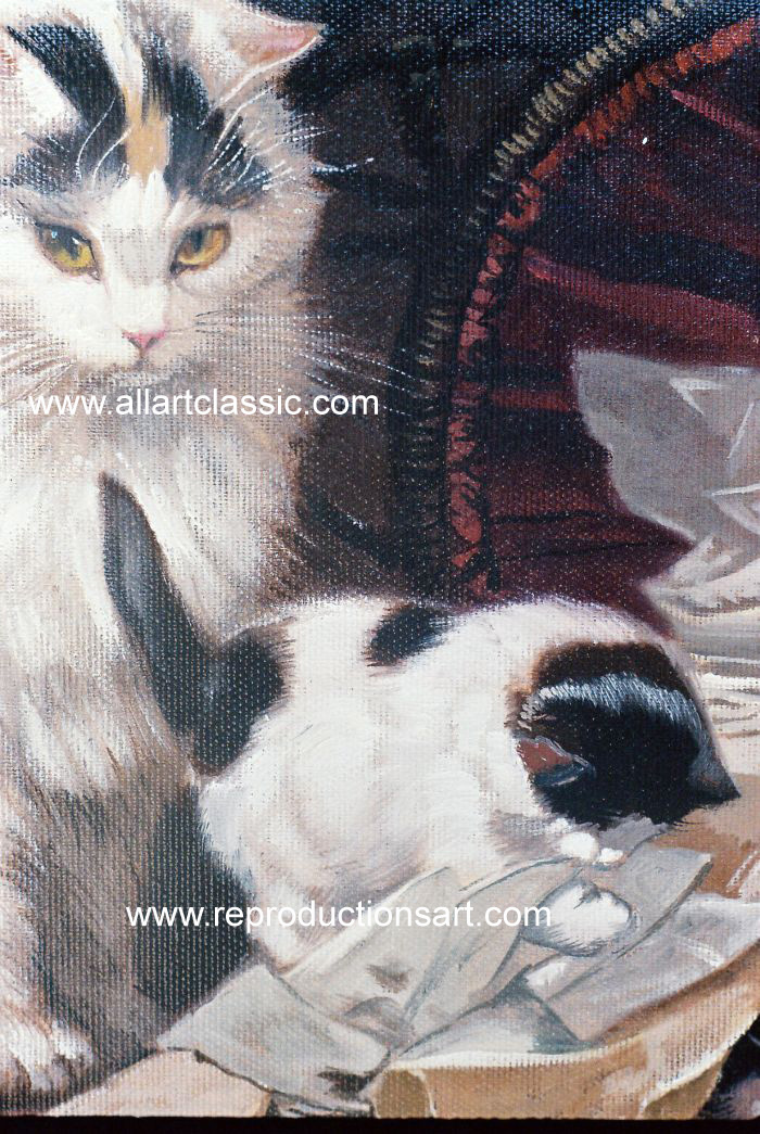 Art Reproductions Ronner_Knip_001N_A. Our Oil Painting Reproduction -Zoom Details