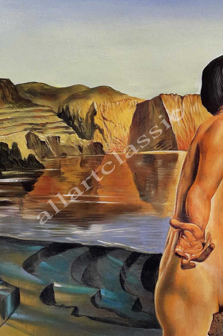 Art Reproductions Salvador_Dali_Nude_Contemplating_before_the_Five_Regular_Bodies_D. Our Oil Painting Reproduction -Zoom Details