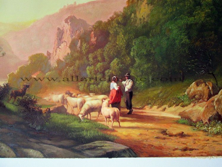 Art Reproductions Shepherds_In_A_Landscape_Painting_L_B. Our Oil Painting Reproduction -Zoom Details