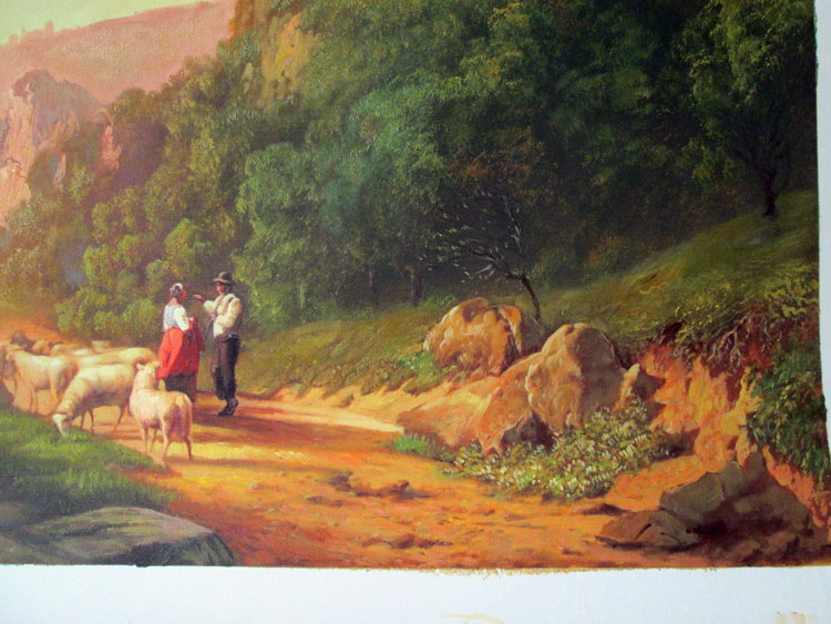 Art Reproductions Shepherds_In_A_Landscape_Painting_L_D. Our Oil Painting Reproduction -Zoom Details