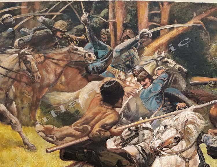 Art Reproductions Victor_Tardos_Hungarian_Hussars_and_Russian_Cossacks_Fighting_in_the_Carpathian_Mountains_A. Our Oil Painting Reproduction -Zoom Details