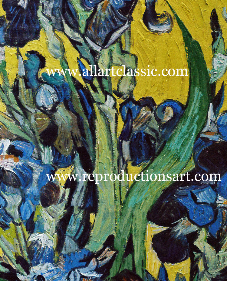 Art Reproductions Vincent-Van-Gogh-Irises_1_C. Our Oil Painting Reproduction -Zoom Details