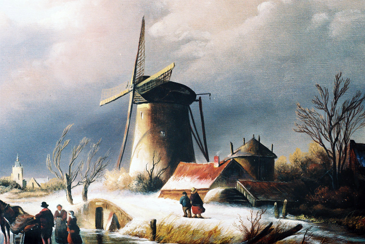 Art Reproductions Winter-Landscape-L_A. Our Oil Painting Reproduction -Zoom Details