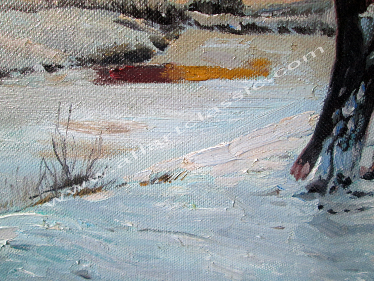Art Reproductions Winter-Landscape-Painting_A. Our Oil Painting Reproduction -Zoom Details