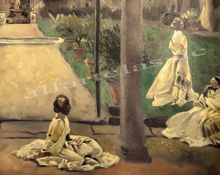 Art Reproductions sargent_Ladies_in_a_Garden_painting_D. Our Oil Painting Reproduction -Zoom Details